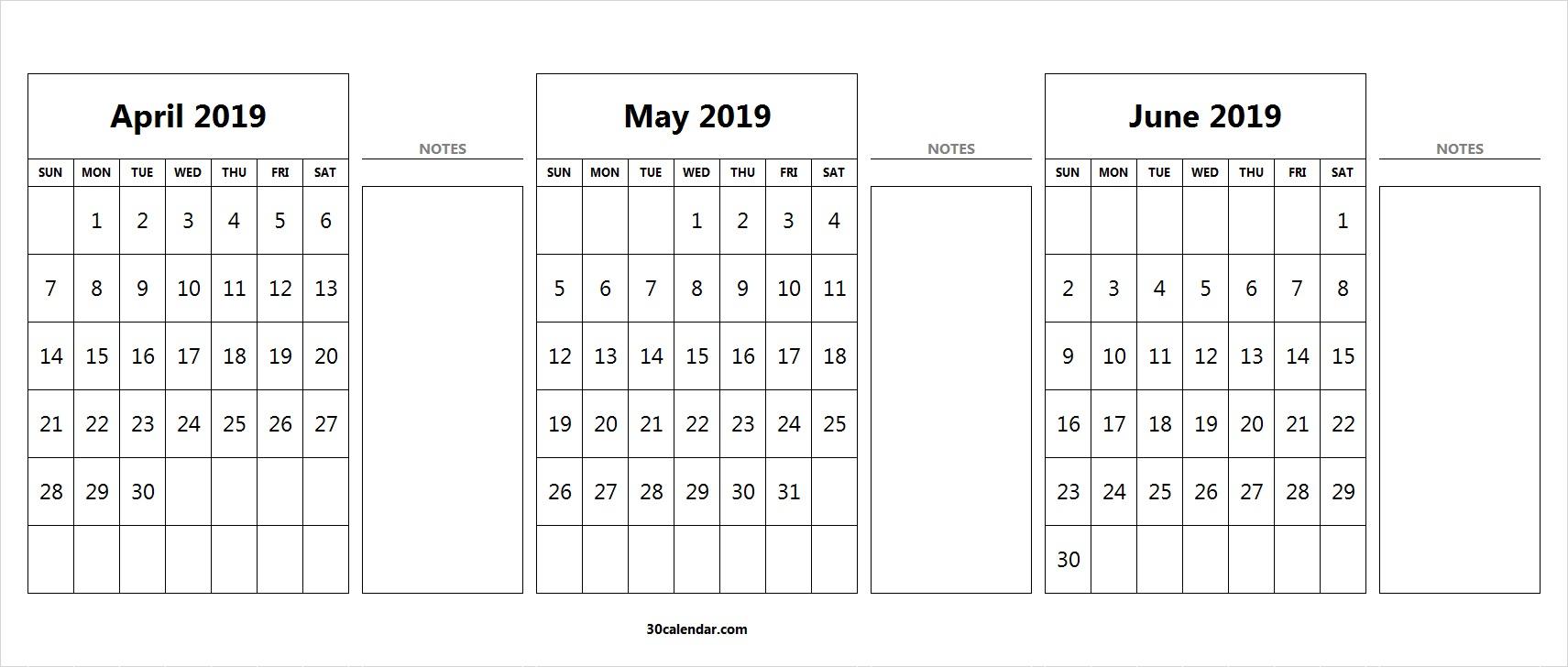 April May June Calendar 2019 | 3 Month Calendar Template in Printable 3 Month April May June Calendar Template