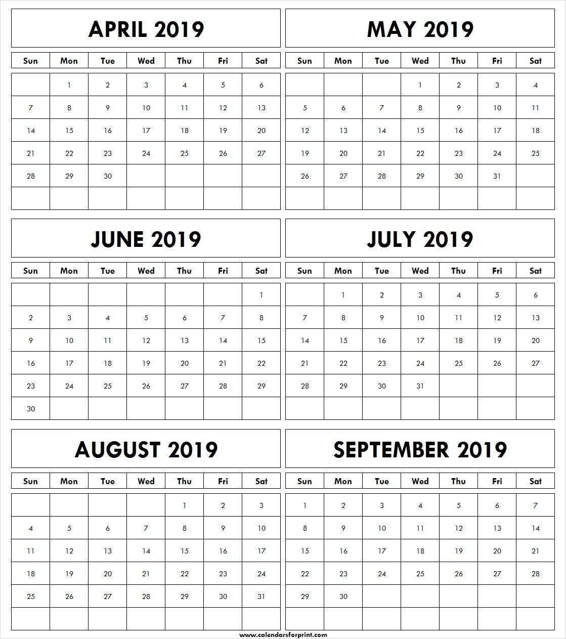 April May June July August September 2019 Templates Free | Printable with Printable July Augsut September Calendar Template