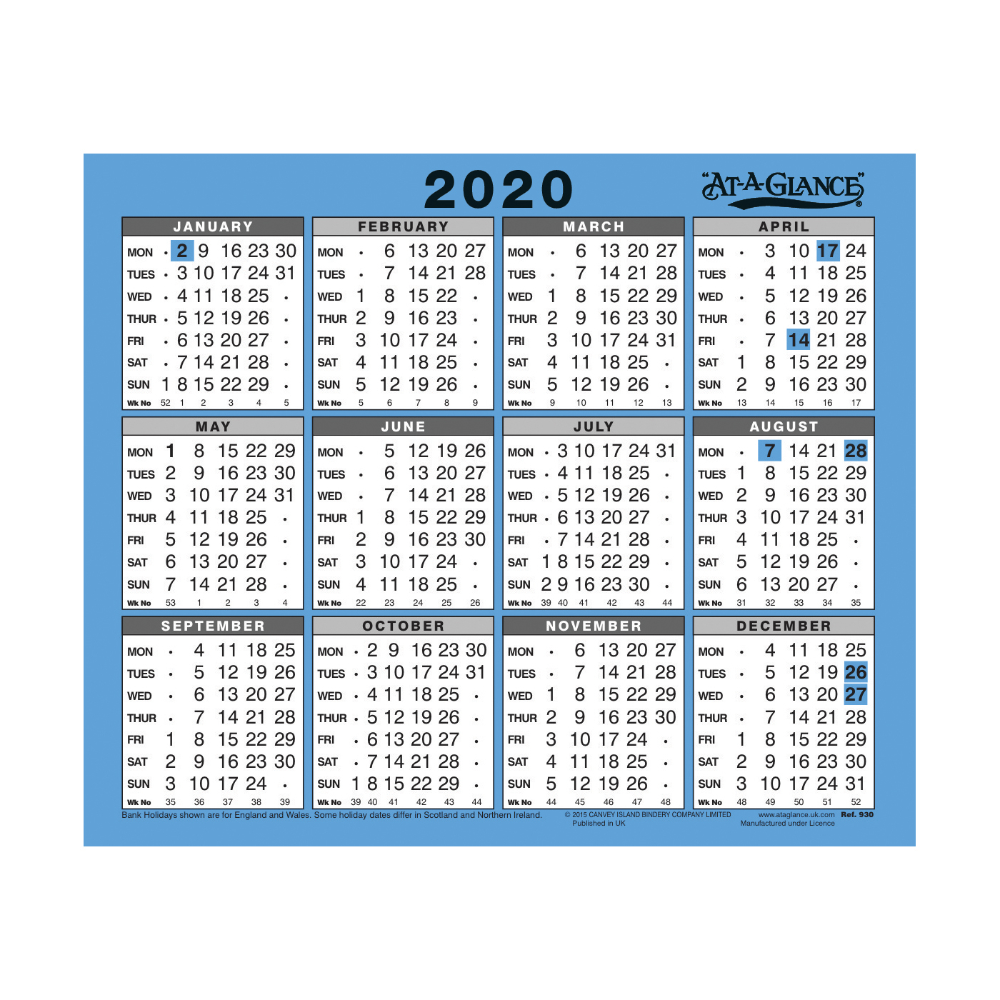 At-A-Glance 2020 Wall/desk Calendar Year To View Gloss Board Binding  254X210Mm White/blue Ref 930 2020 inside Year At A Glance 2020