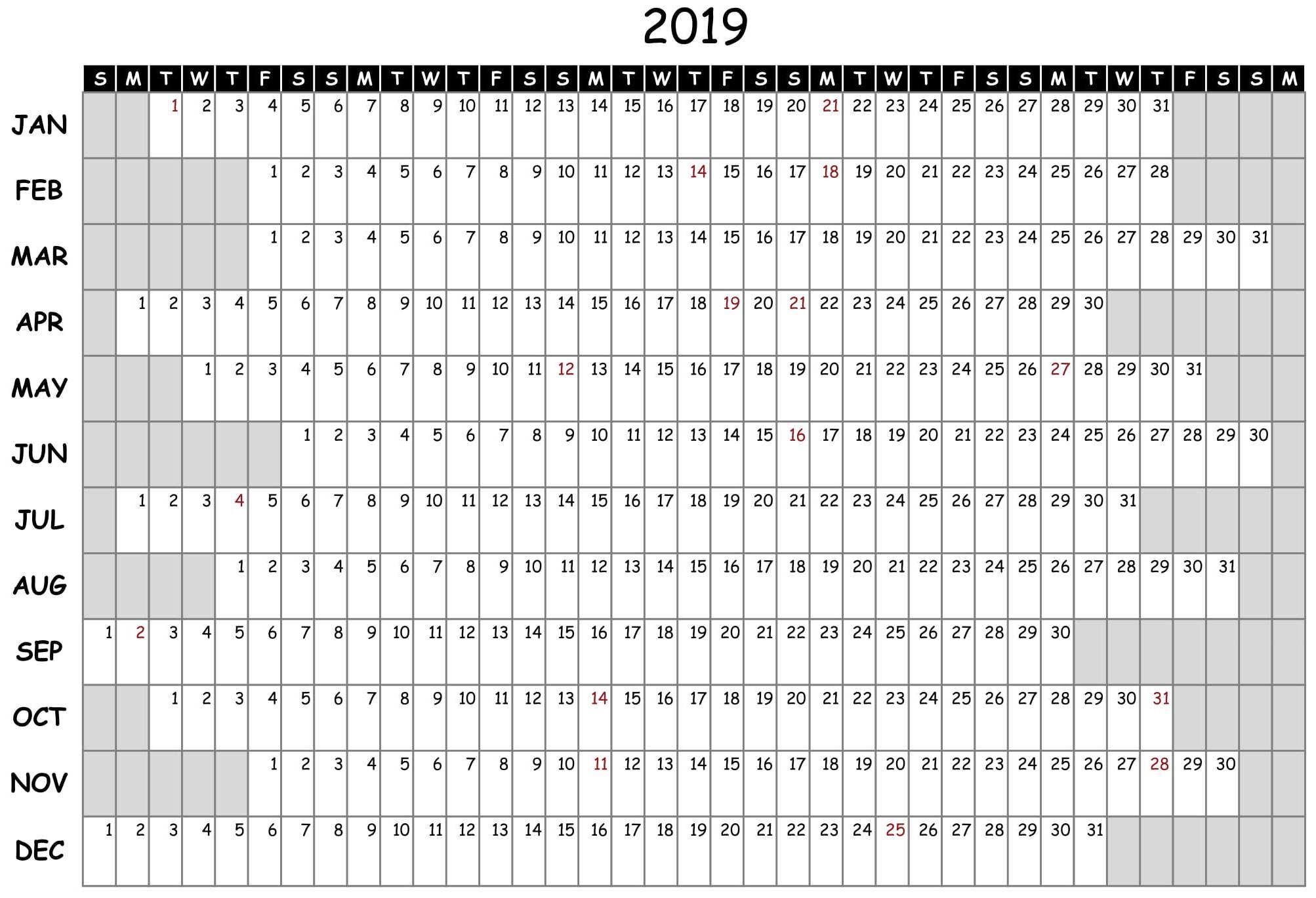 Attendance Calendar 2019 Free - Infer.ifreezer.co regarding Free Printable Employee Attendance Calendar Template