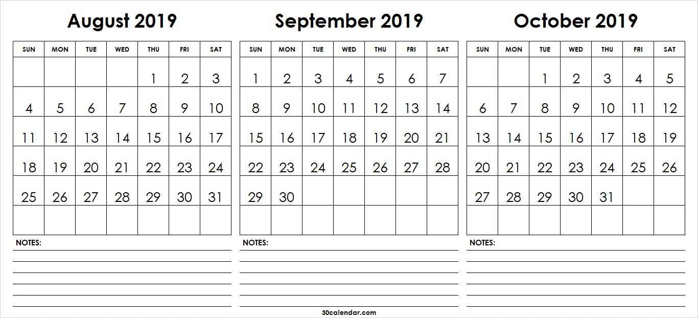 Aug-Sep-Oct-2019-Calendar-Printable - 30 Day Calendar intended for Calendars Sept And October 2019
