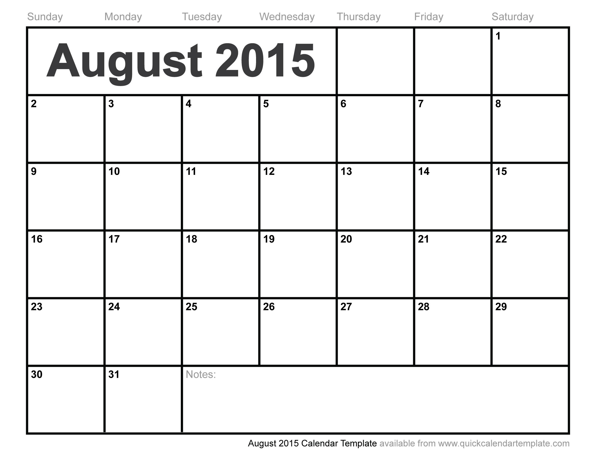 August 2015 Calendar Template regarding Calendar Template For August