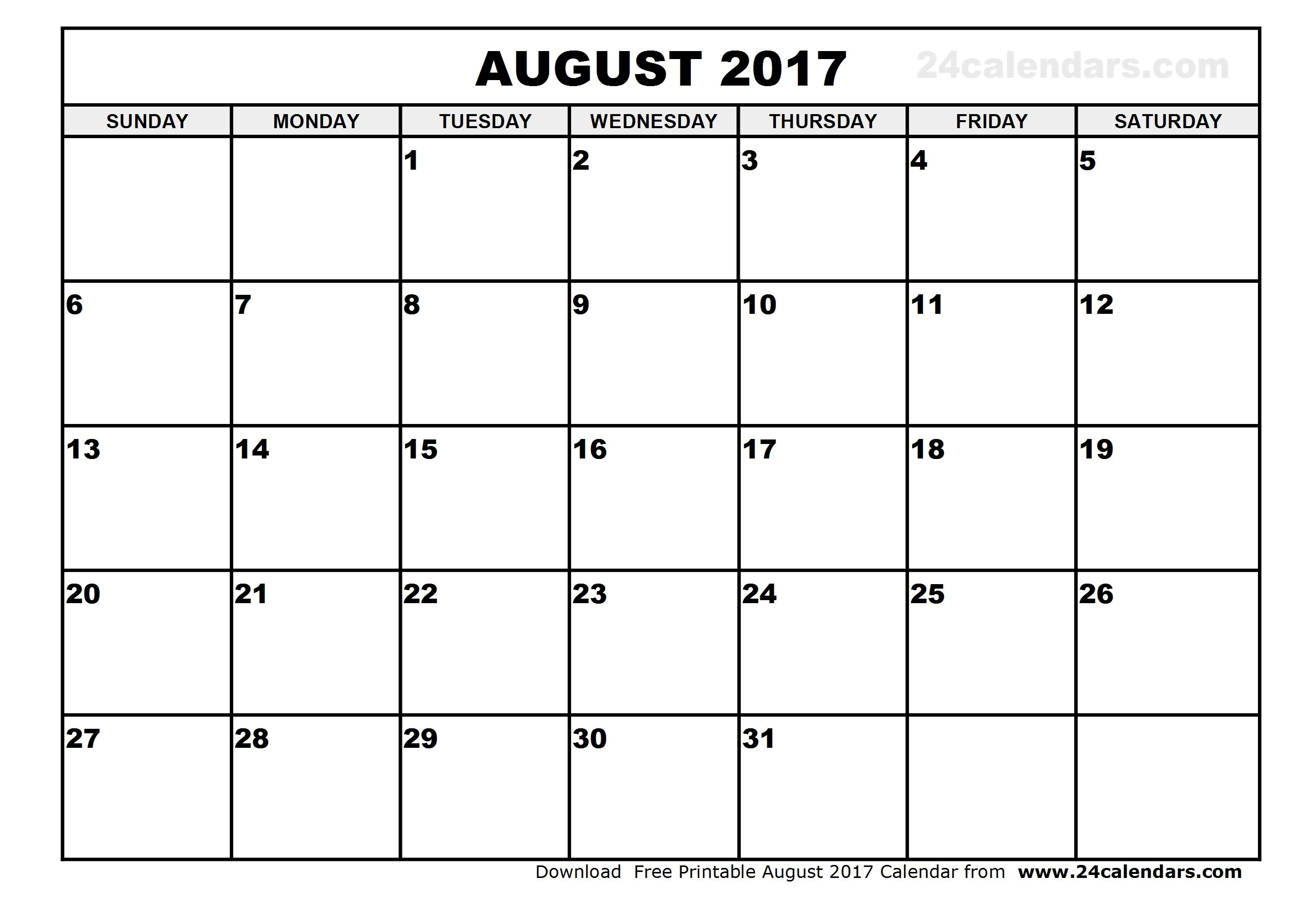 August 2017 Calendar  | Calender | September Calendar, November for Blank August And September Calendar
