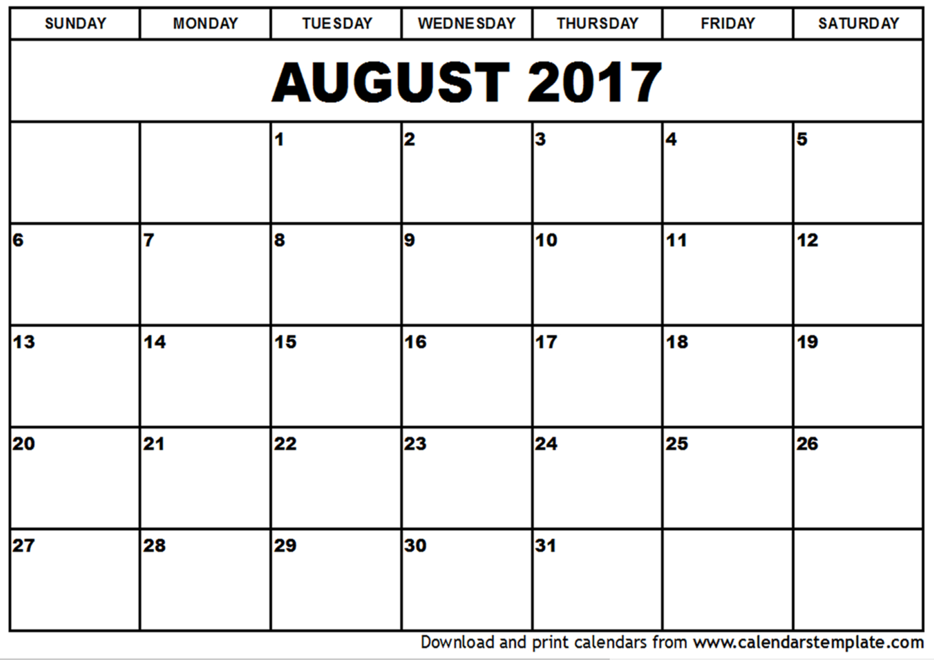 August 2017 Calendar with regard to August Calendar Template Excel