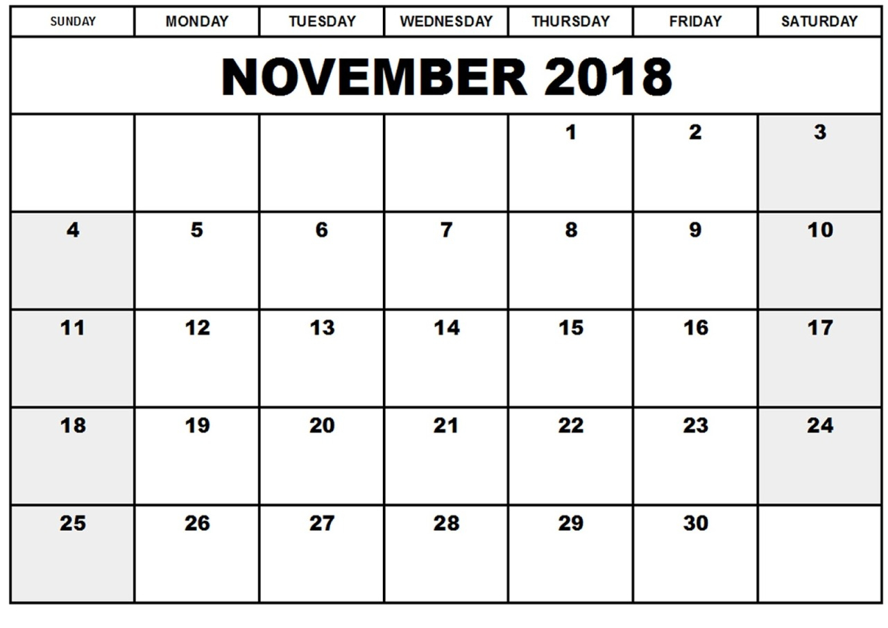 August 2018 Bank Holidays — November 2018 Calendar Template Usa intended for Holidays Calendar Templates November