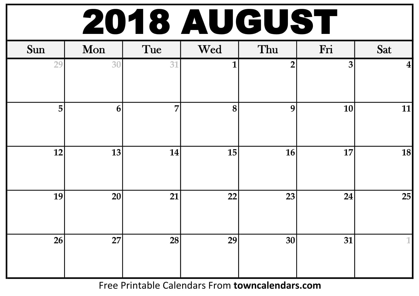 August 2018 Calendar Blank Template - Free Printable Calendar, Blank throughout Blank Printable Calendar Pages Aug