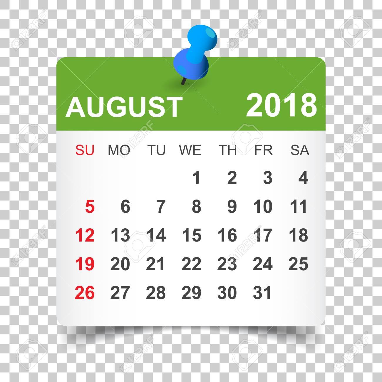 August 2018 Calendar. Calendar Sticker Design Template. Week.. intended for Aug Calendar Clip Art Template