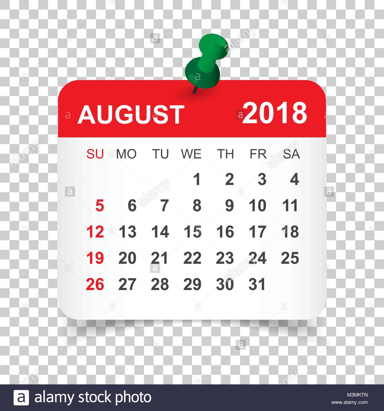 August 2018 Calendar. Calendar Sticker Design Template. Week Starts pertaining to Aug Calendar Clip Art Template