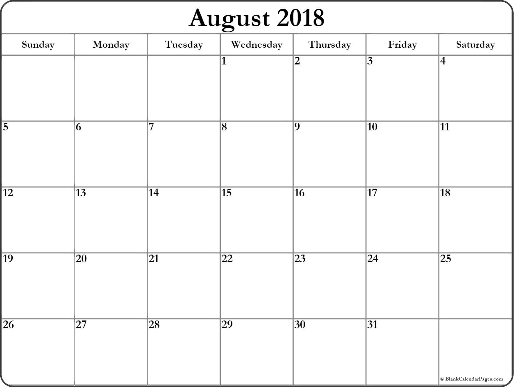 August 2018 Calendar | Free Printable Monthly Calendars with August Blank Calendar Pages