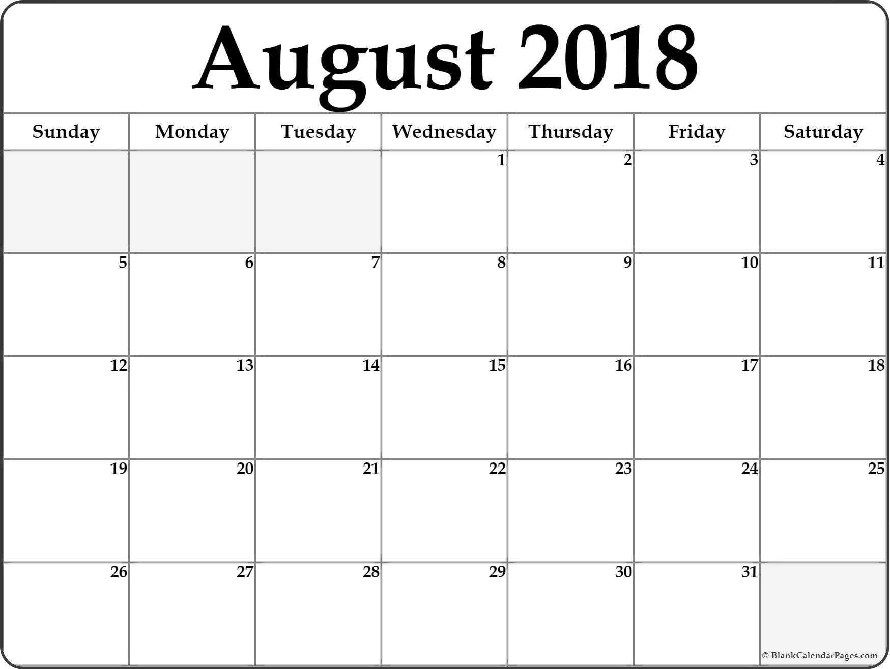 August 2018 Calendar | Free Printable Monthly Calendars with Blank Calendar Template For August
