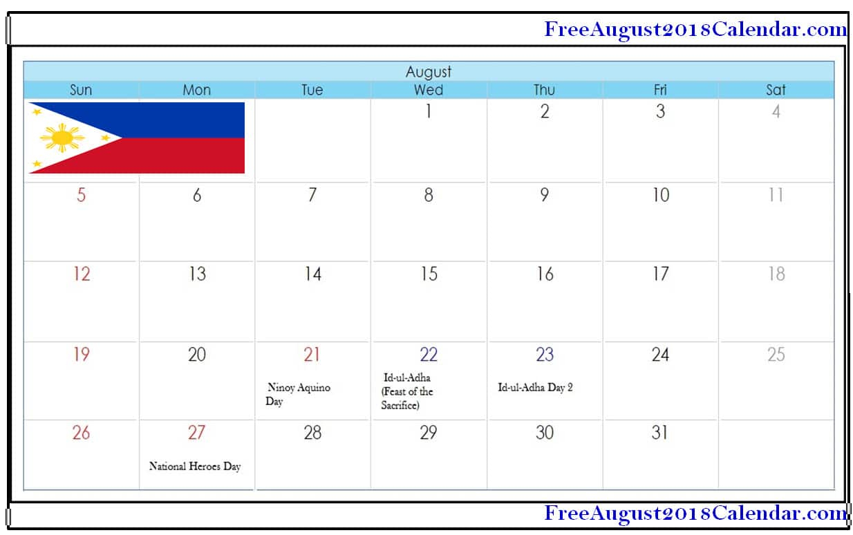 August 2018 Calendar Philippines - Free August 2019 Calendar inside Philippine Blank July Calendar Printable