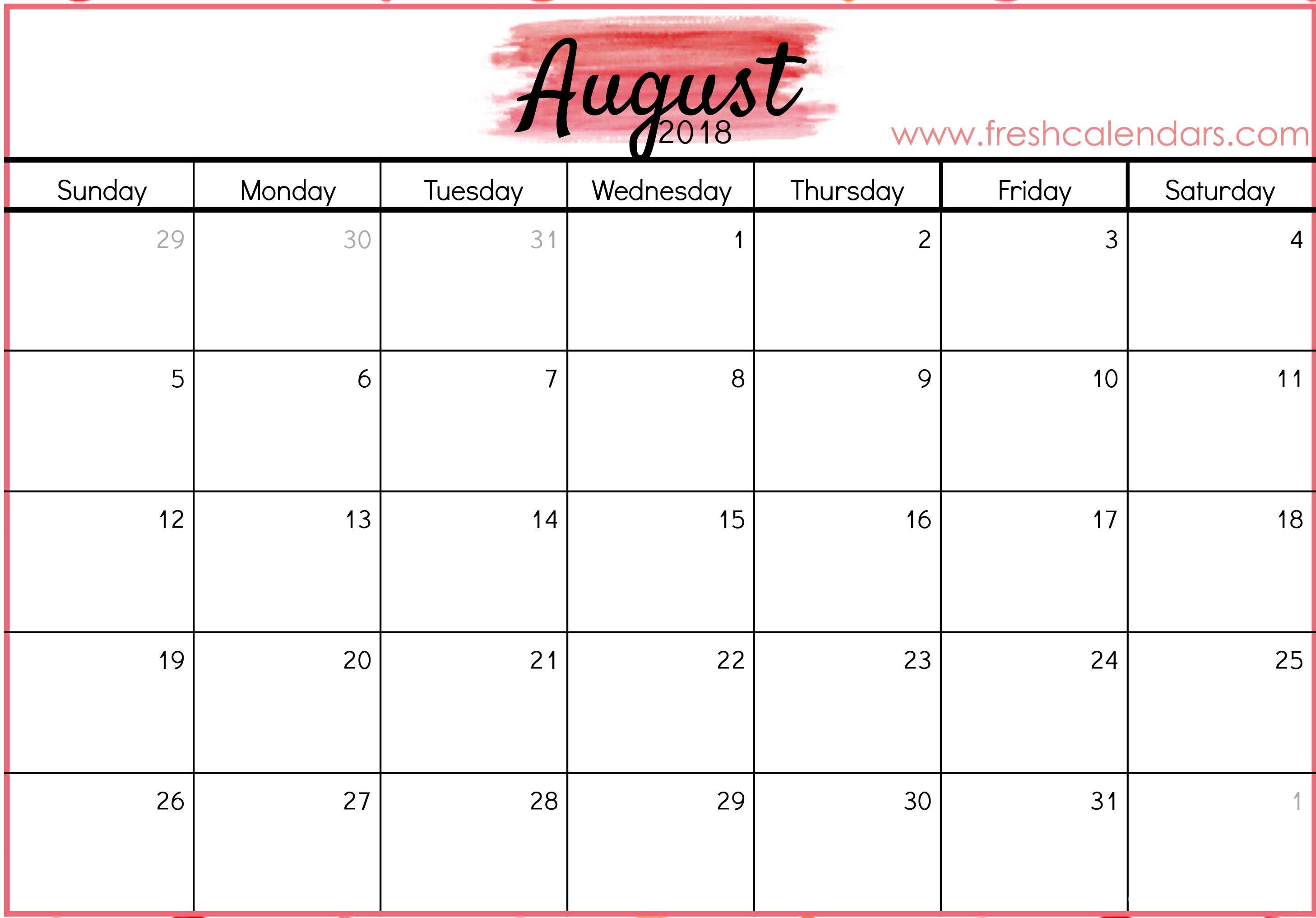 August 2018 Calendar Printable - Fresh Calendars intended for Blank August Colorful Calendar