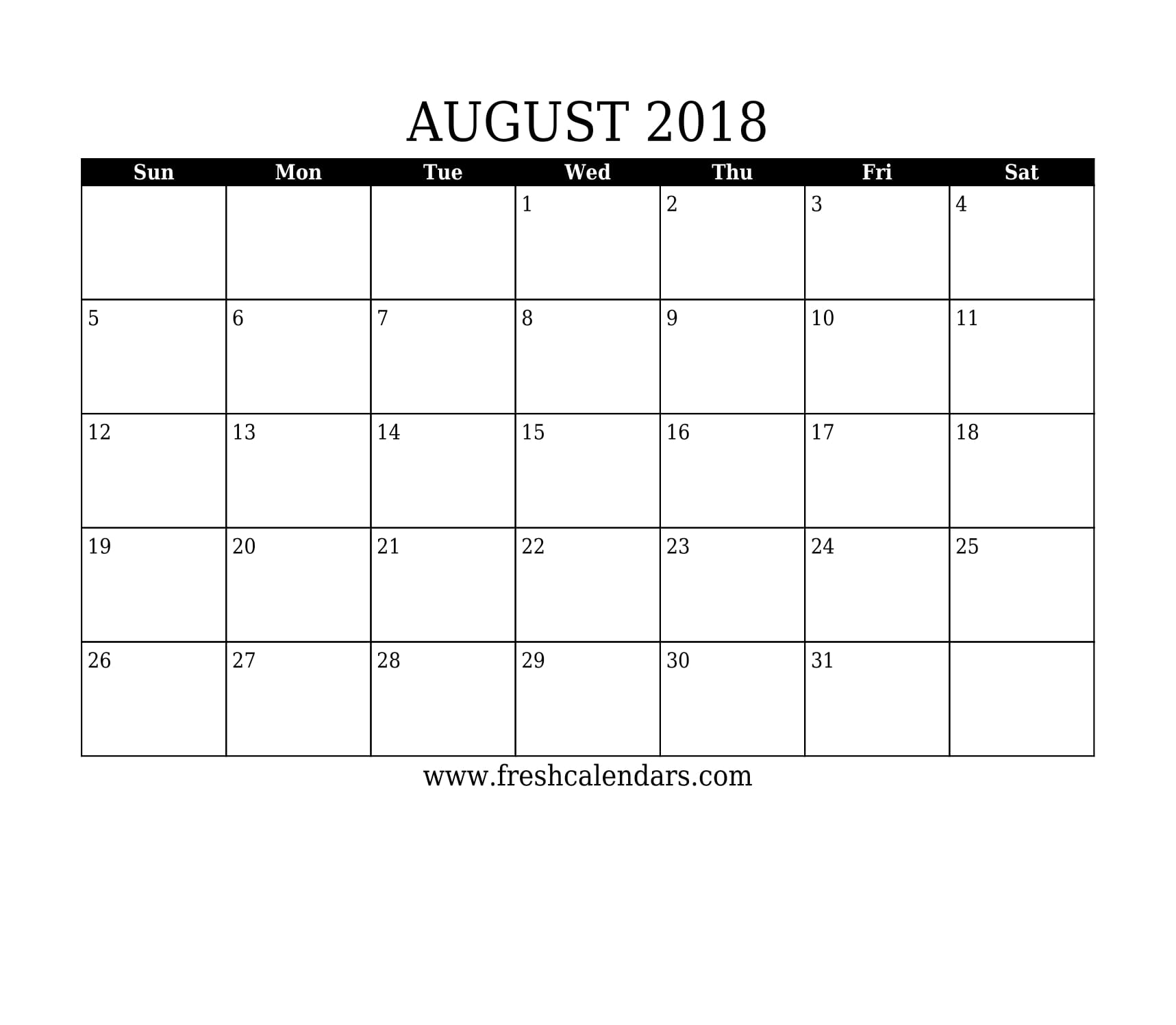 August 2018 Calendar Printable - Fresh Calendars throughout Monthly August Calander Template