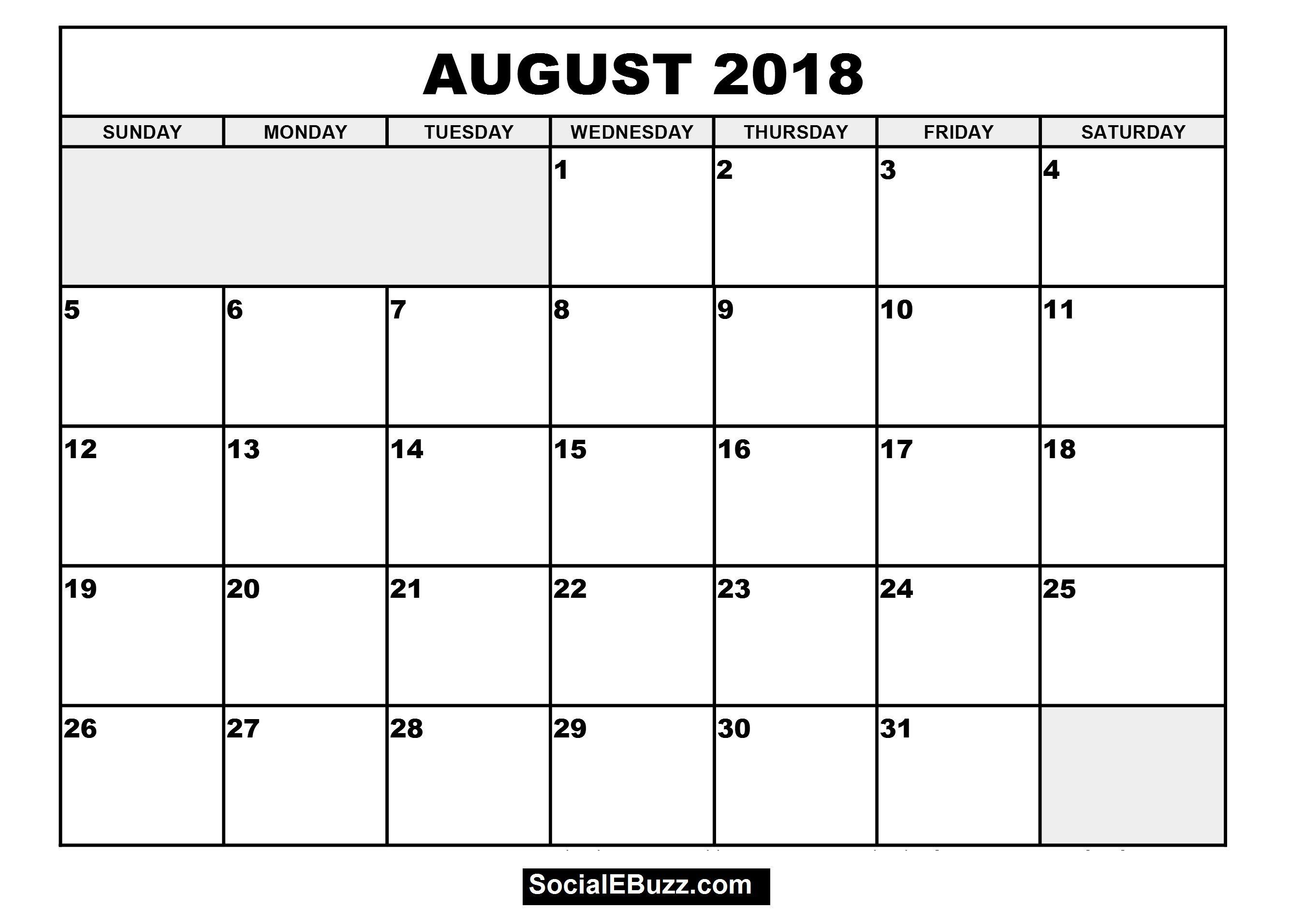 August 2018 Calendar Printable Template | August 2018 Calendar Blank for Blank Calendar Printable August