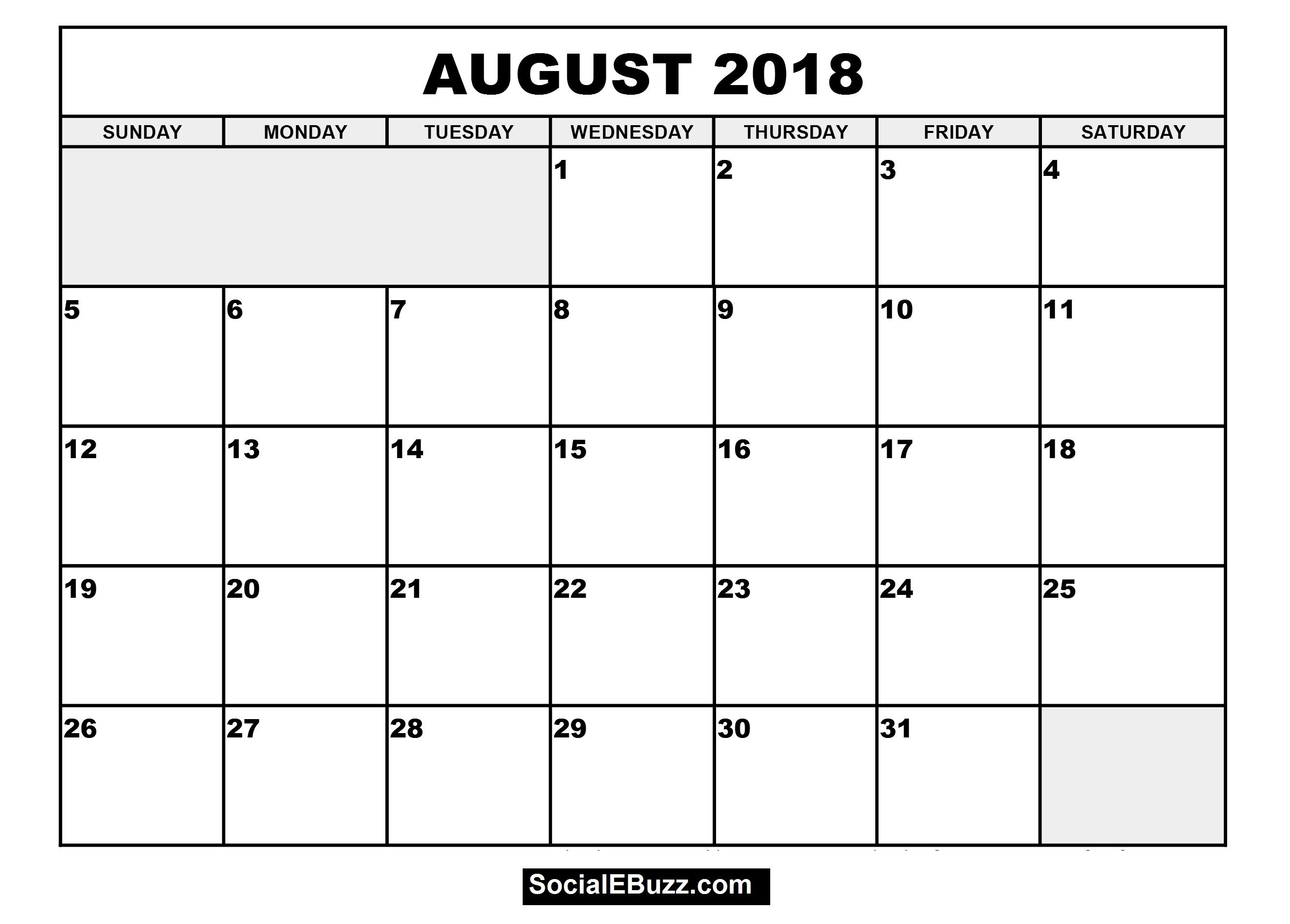 August 2018 Calendar Printable Template | August 2018 Calendar Blank regarding Printable Monthly Calendar Template Aug