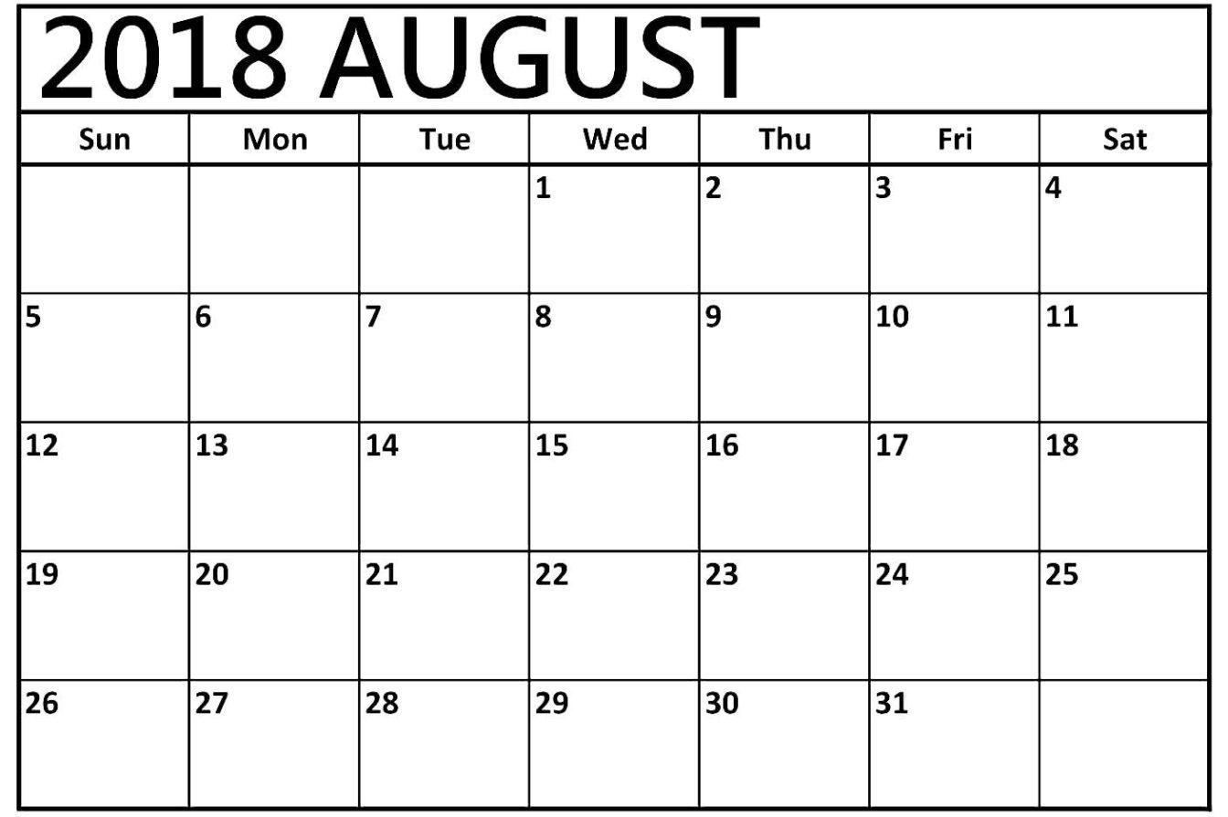 August 2018 Calendar Template - Free Printable Calendar, Blank pertaining to Calendar Template For August