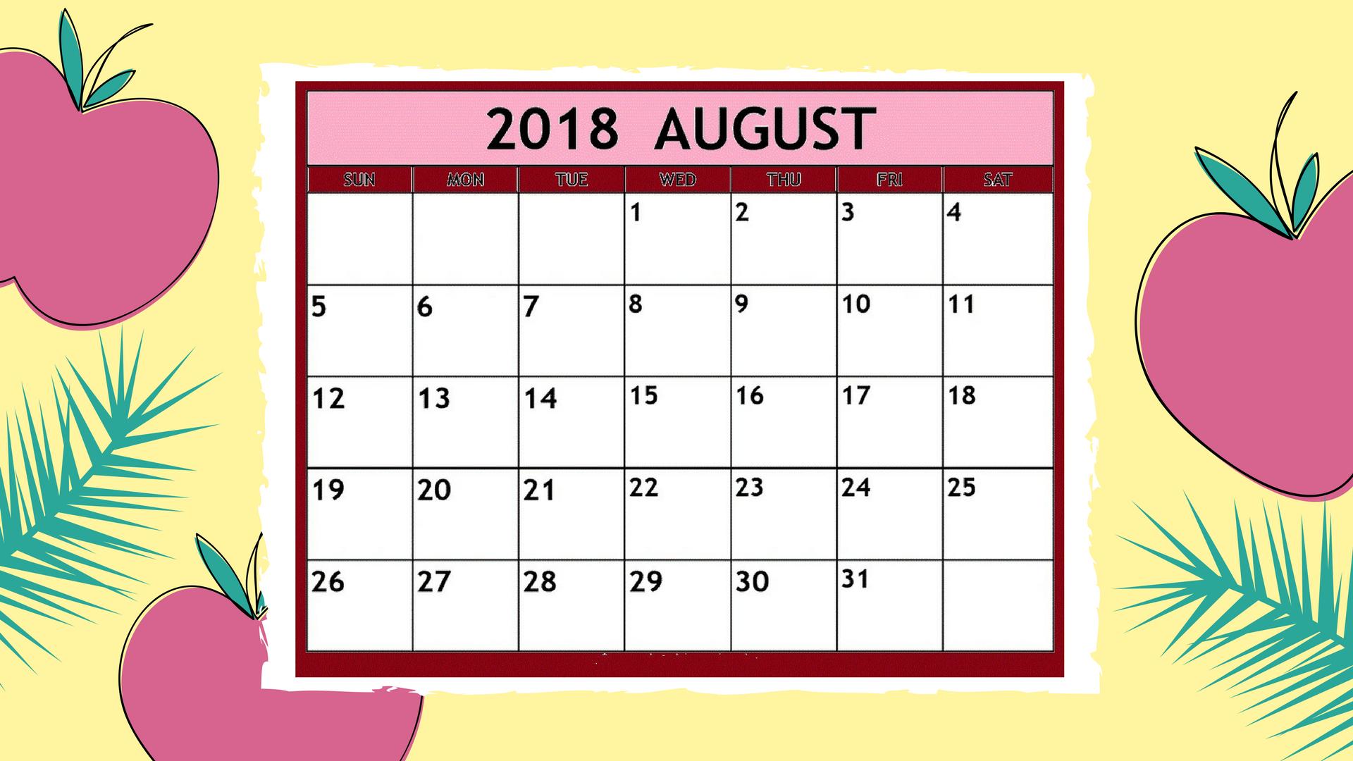 August 2018 Calendar Templates With Holidays - Timedatecalendar within Aug Calendar Clip Art Template