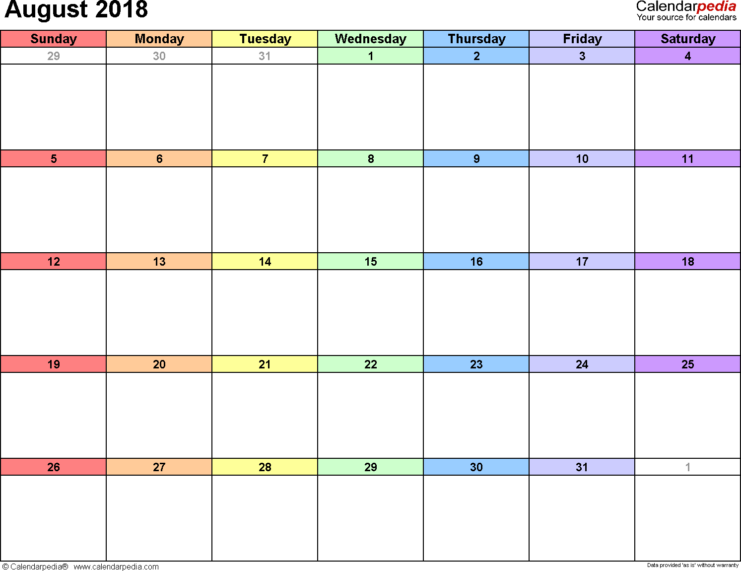 August 2018 Calendars For Word, Excel & Pdf throughout Calendar Template For August