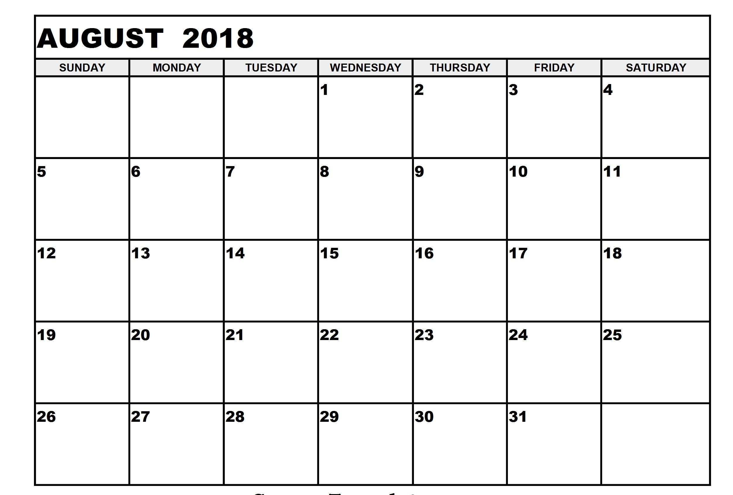 August 2018 Printable Calendar | Business Calendar Templates for Cute Printable August Calendar Template
