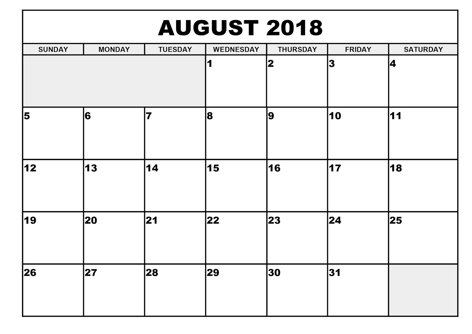 August 2018 Printable Calendar Templates pertaining to Blank Calendar To Write On August