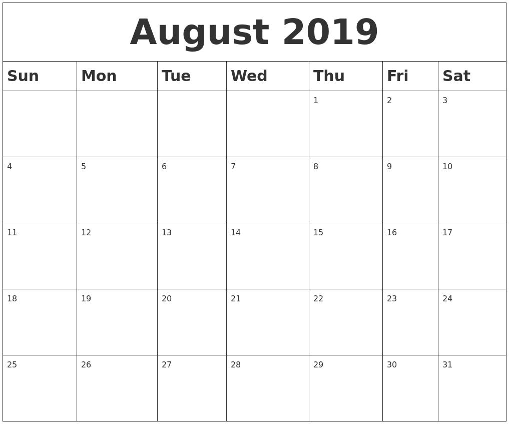 August 2019 Blank Calendar inside Blank Calendars For August