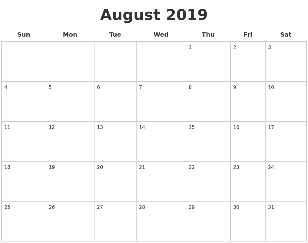August 2019 Blank Calendar Pages throughout Blank Calender Of August