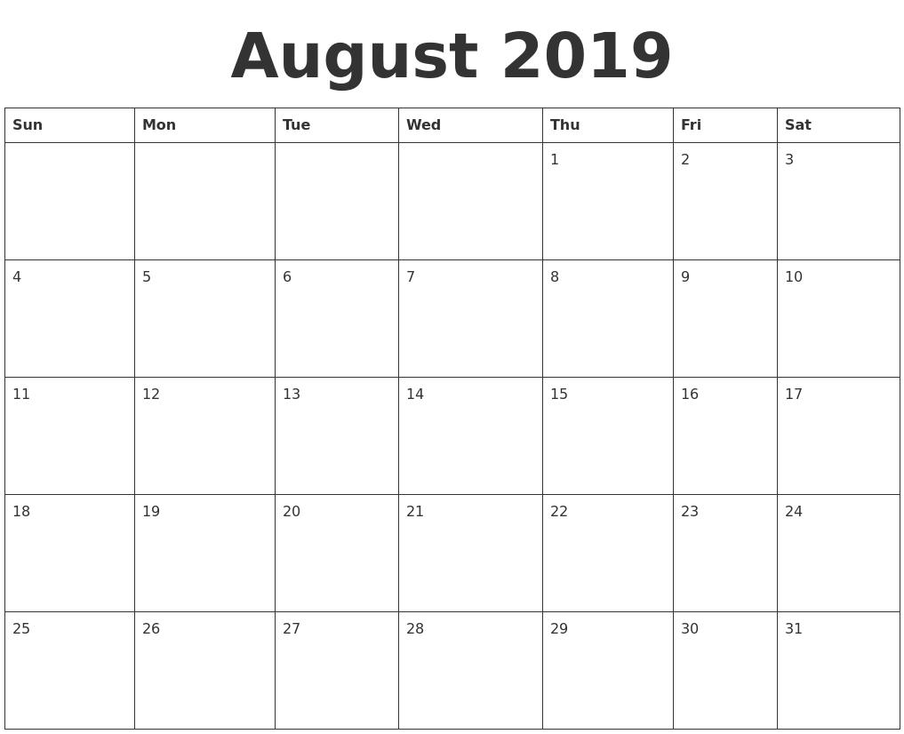 August 2019 Blank Calendar Template intended for Blank Calendar Template For August