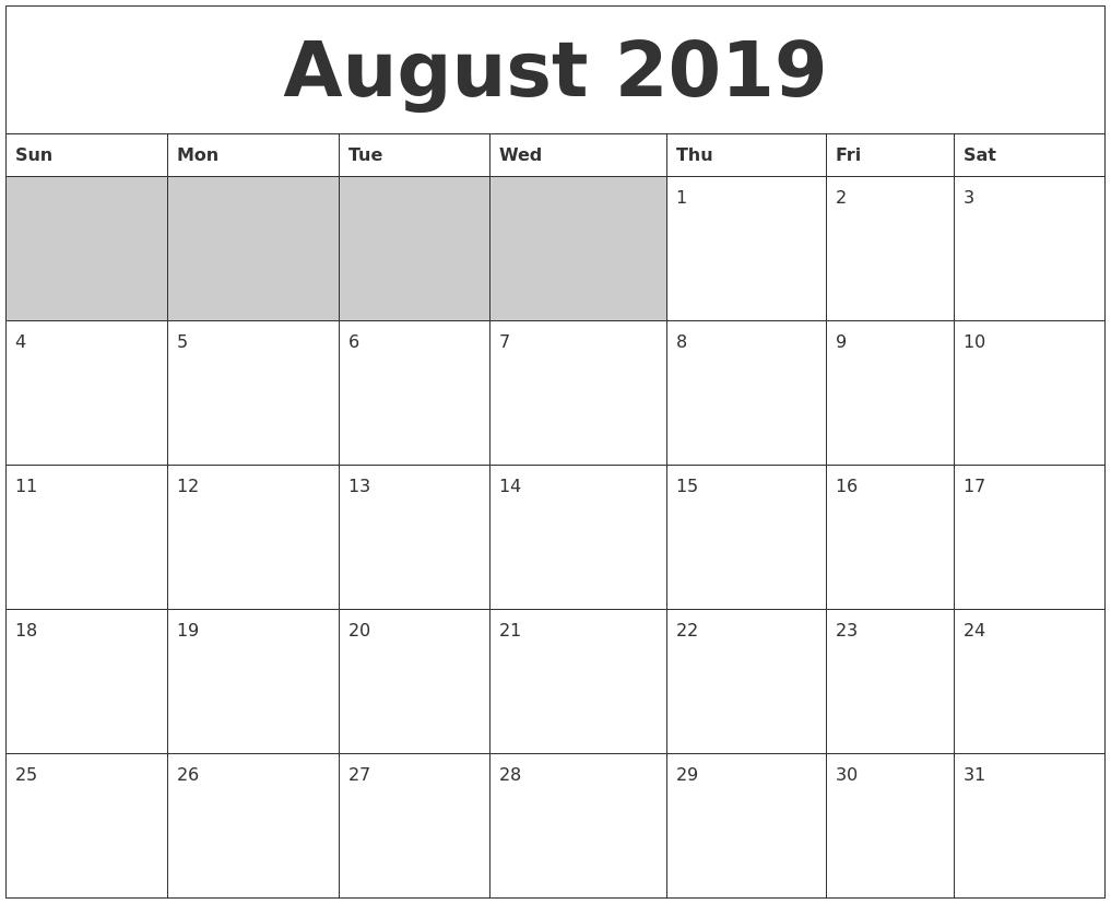 August 2019 Blank Printable Calendar with regard to Printable Blank Aug Calendar