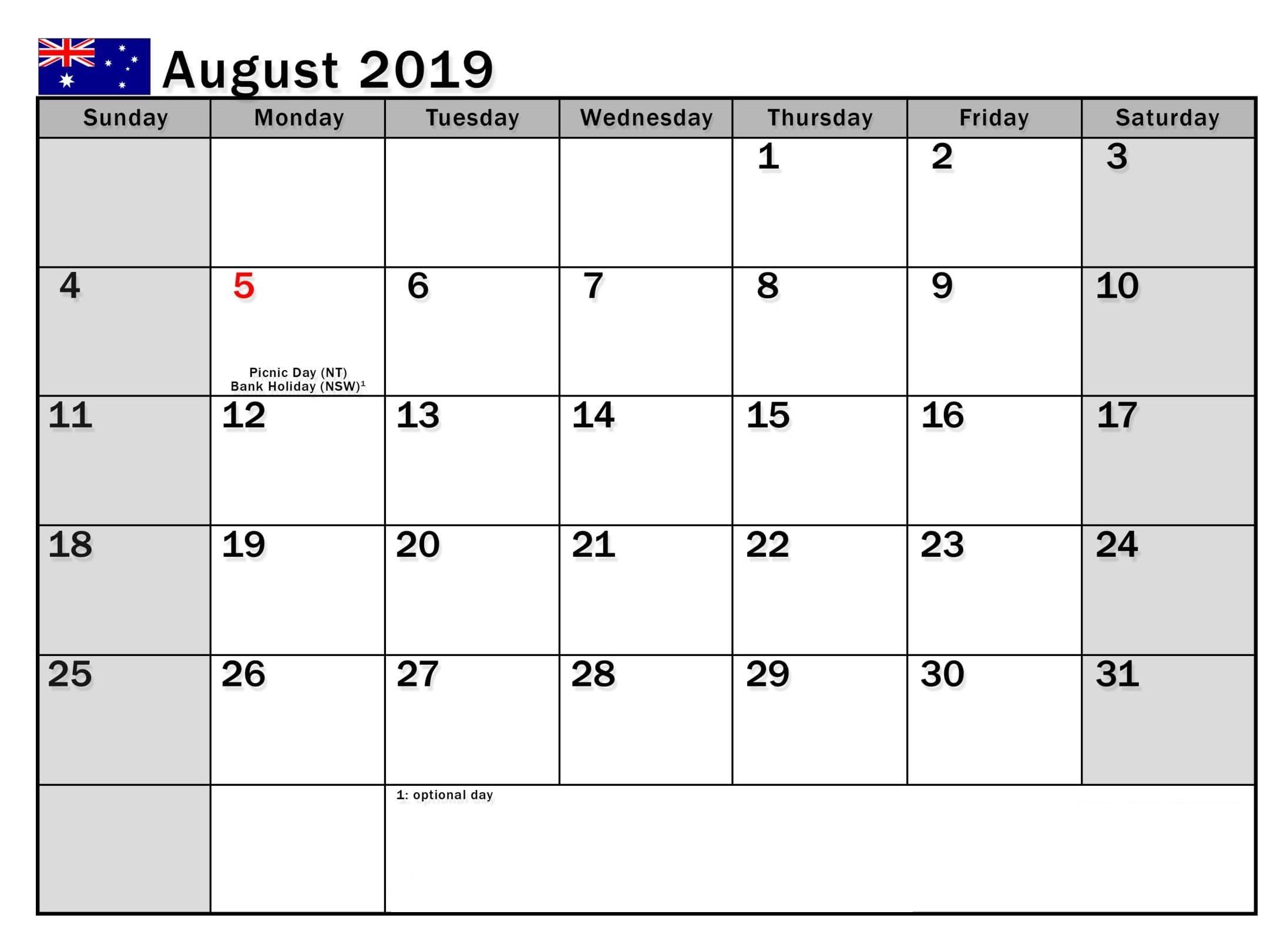 August 2019 Calendar Australia National Holidays - Printable in Blank Calendar August Template Australia