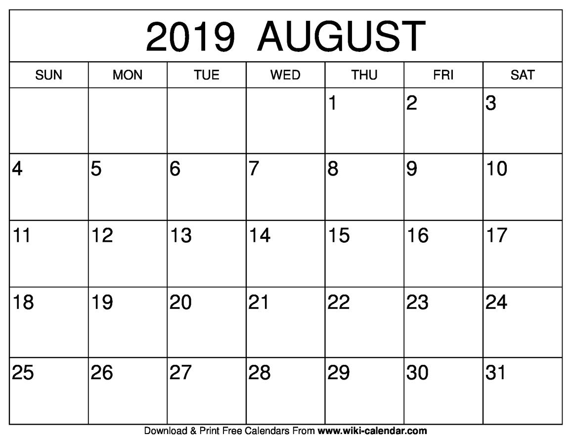 August 2019 Calendar Blank Template - Printable Calendar 2019| Blank within Downloadable Calendar Templates August