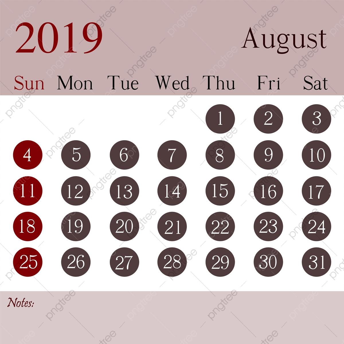 August 2019 Calendar Design Template, 2019 Calendar Calendar with regard to Aug Calendar Clip Art Template