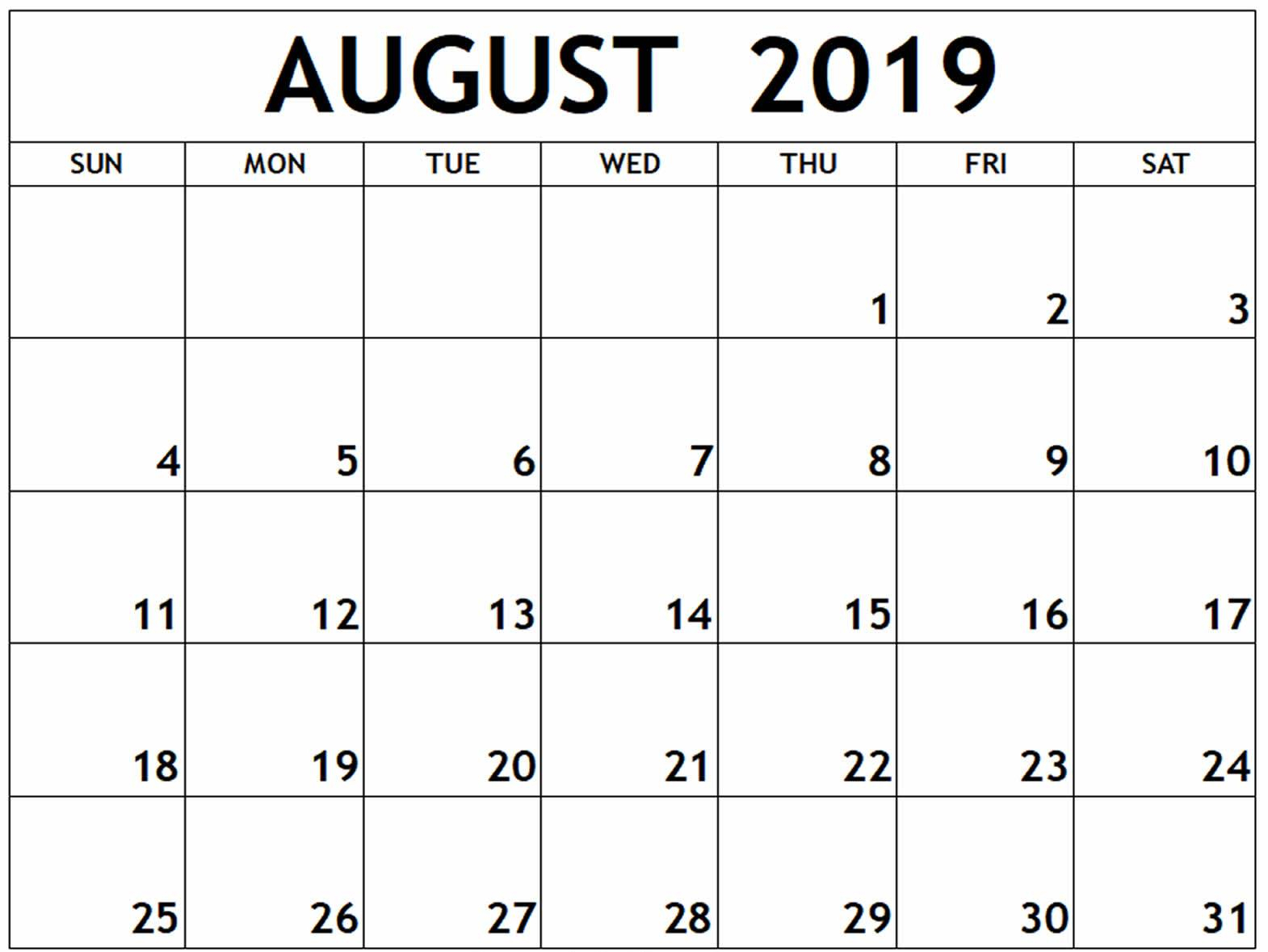August 2019 Calendar Excel With Blank Printable Template in August Calendar Template Excel