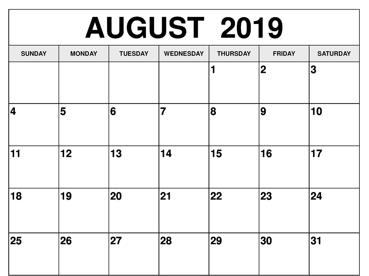 August 2019 Calendar Excel With Blank Printable Template with regard to Downloadable Calendar Templates August