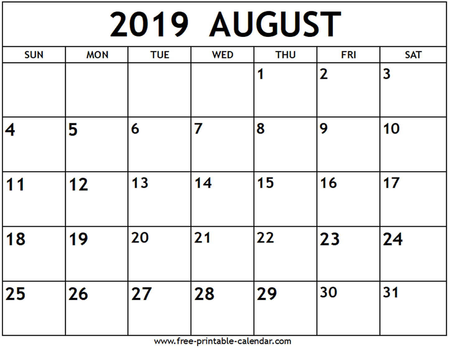 August 2019 Calendar - Free-Printable-Calendar pertaining to Blank Calendar Of August Full Page