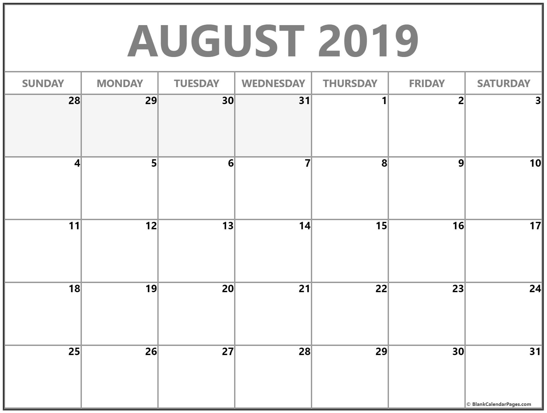 August 2019 Calendar | Free Printable Monthly Calendars for August Blank Calendar Template