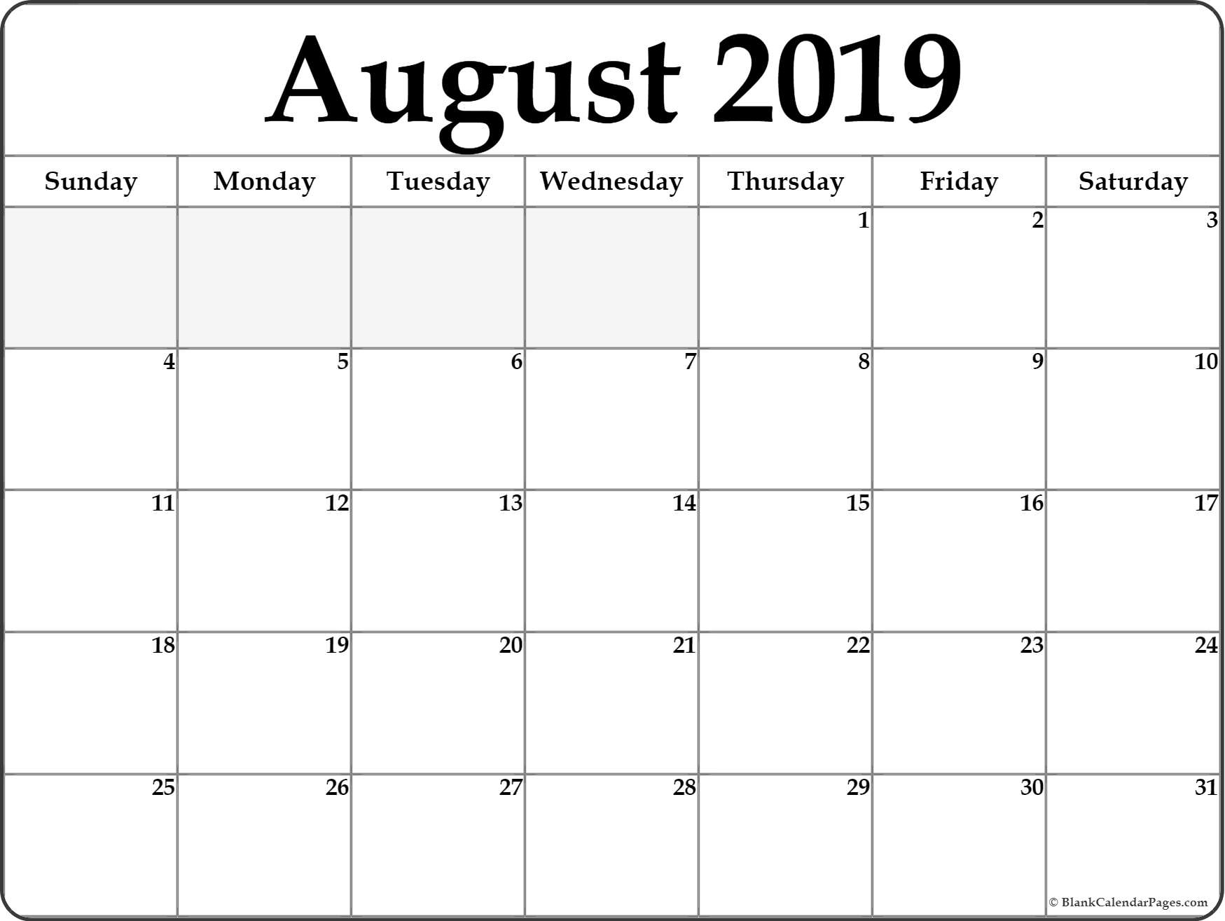 August 2019 Calendar | Free Printable Monthly Calendars for Blank Calendars For August