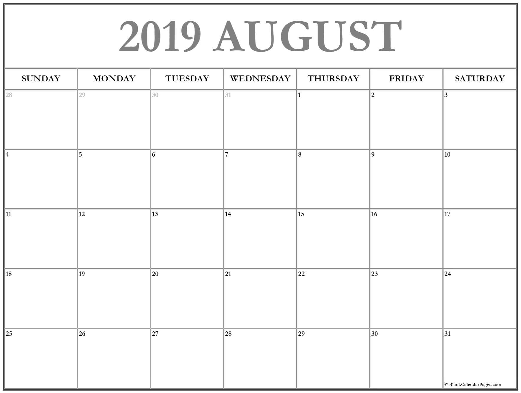 August 2019 Calendar | Free Printable Monthly Calendars intended for August Blank Calendar Pages