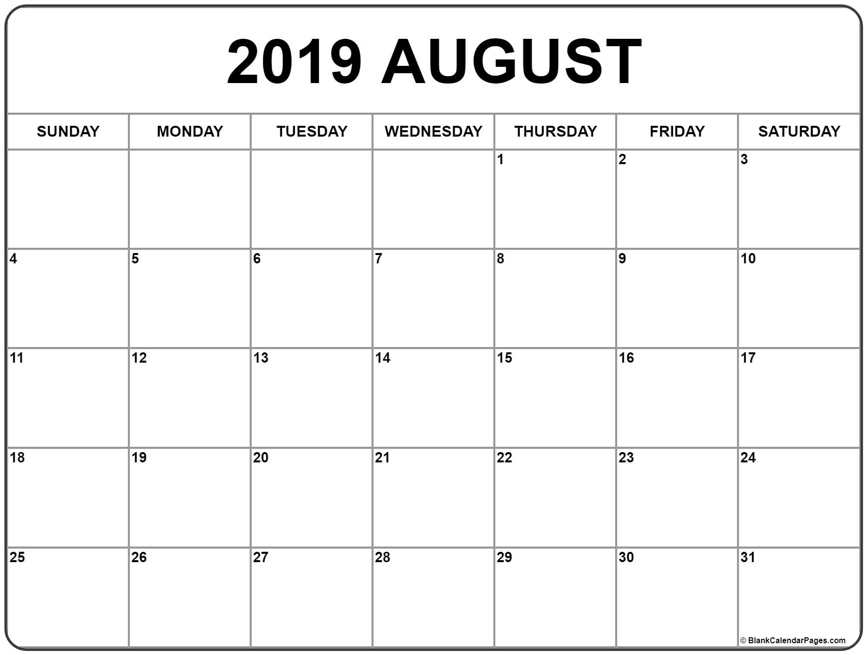 August 2019 Calendar | Free Printable Monthly Calendars regarding Blank Printable Calendar Pages Aug