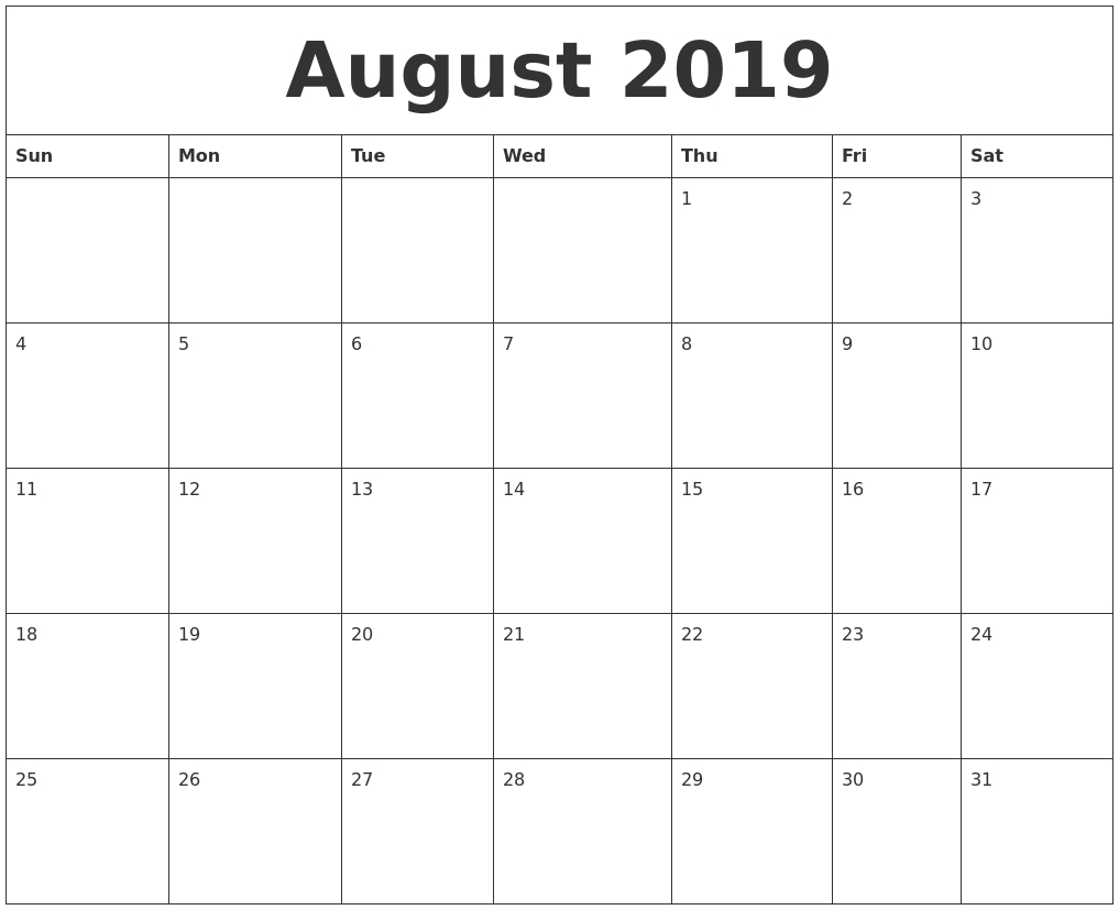 August 2019 Calendar pertaining to Pretty Blank Augst Calender