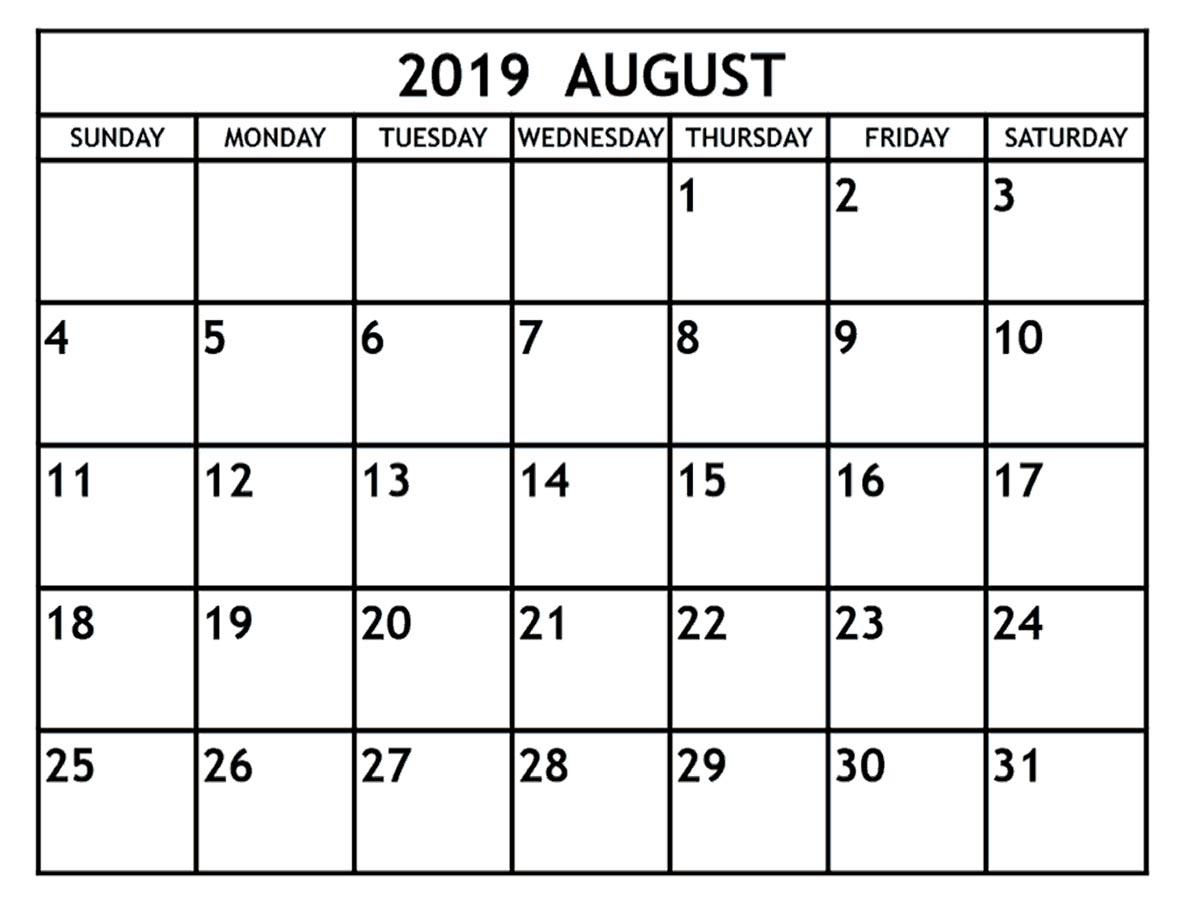 August 2019 Calendar Printable - 2019 Monthly Calendar in Blank Calendar Printable August