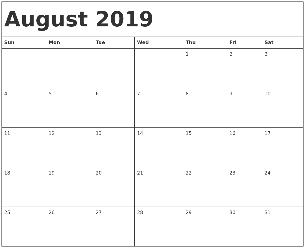 August 2019 Calendar Printable A4 Size - Free Printable Calendar for Blank Calendar August Printable