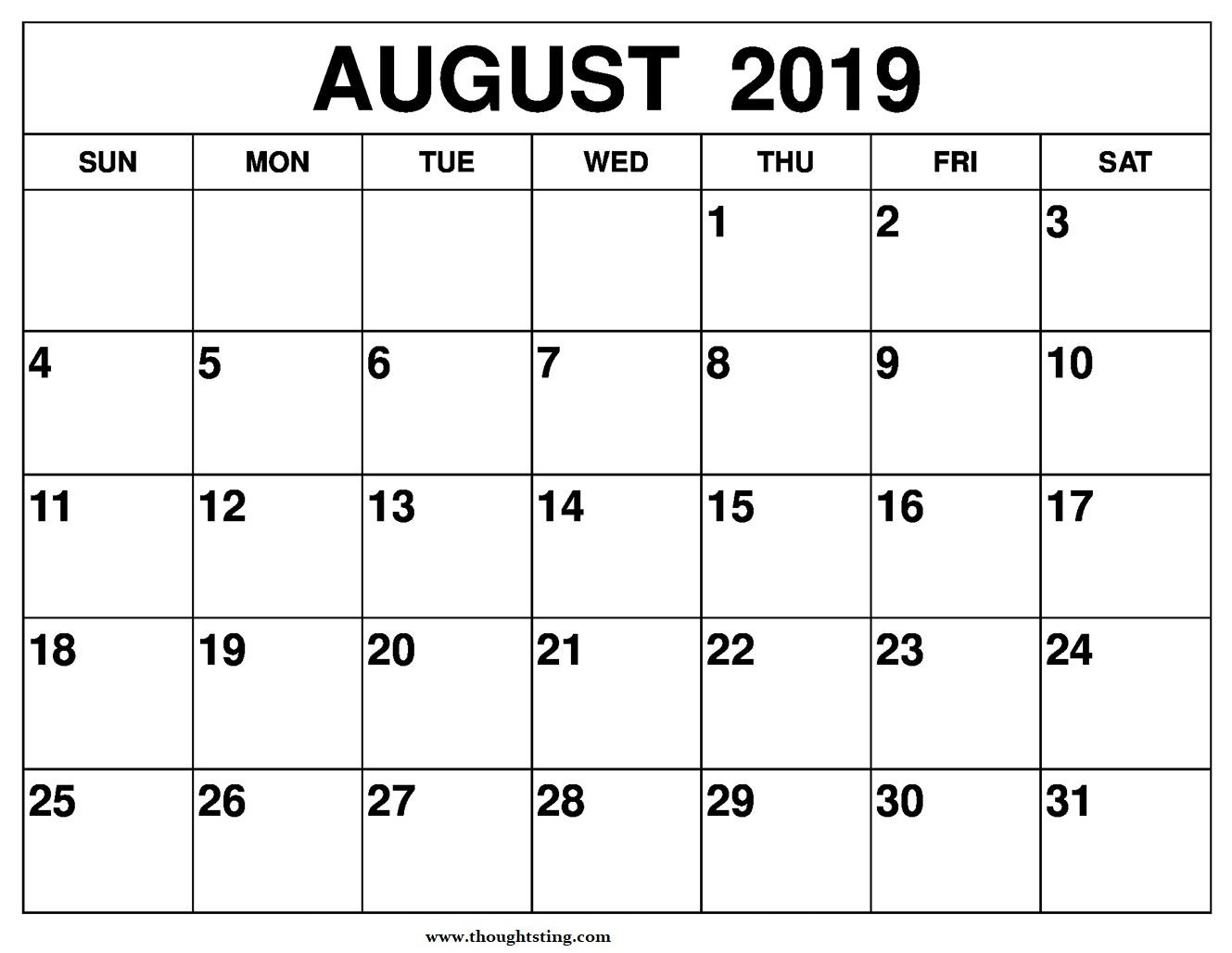 August 2019 Calendar Printable A4 Size - Free Printable Calendar in Blank Calendars For August