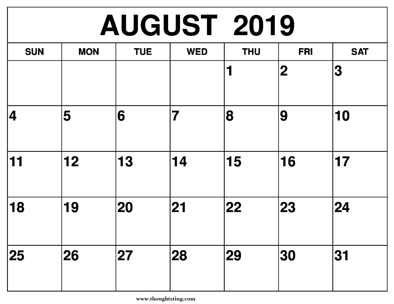 August 2019 Calendar Printable A4 Size - Free Printable Calendar with regard to Blank Calendar To Write On August