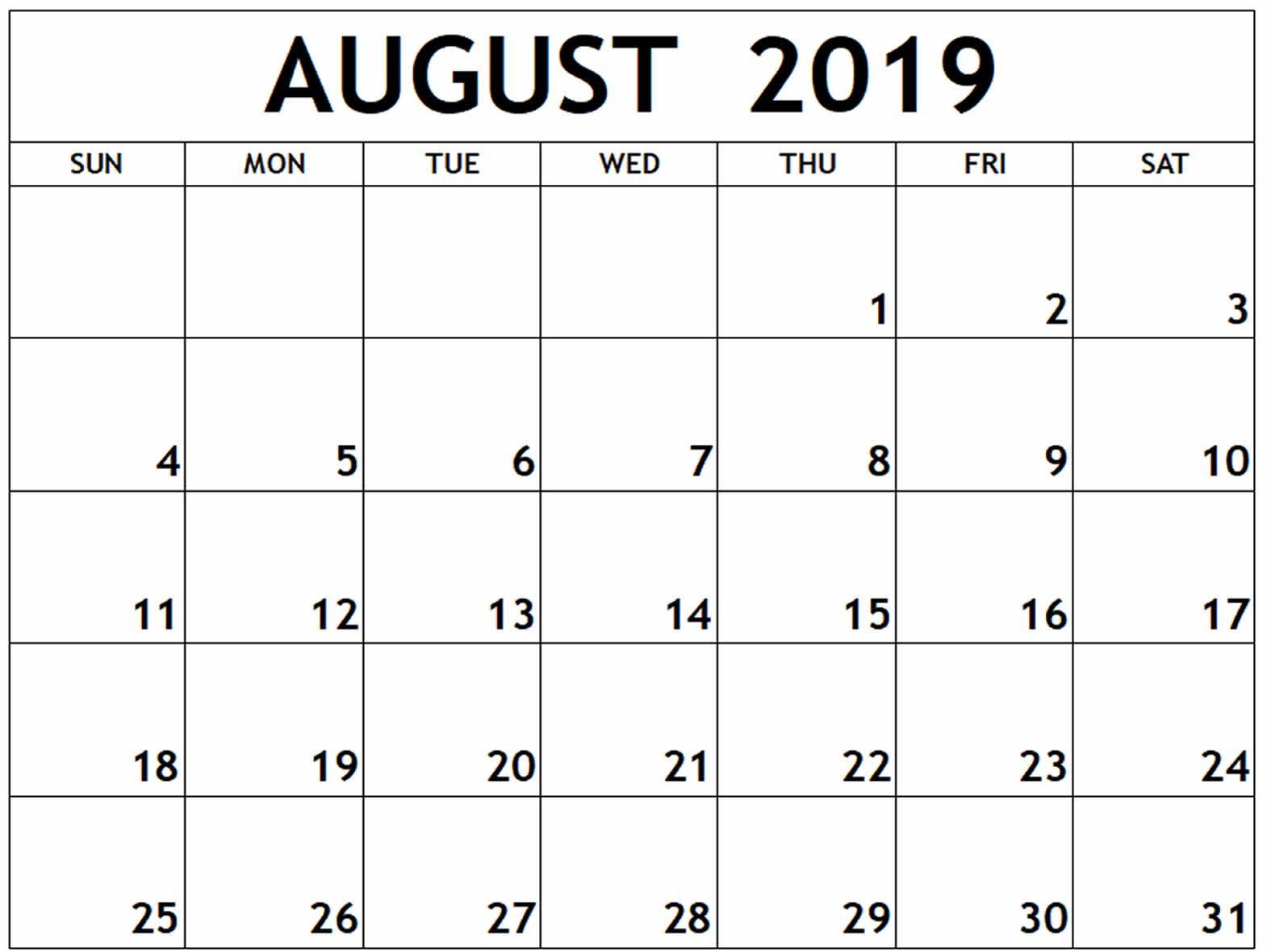 August 2019 Calendar Printable - Free August 2019 Calendar Printable pertaining to August Calendar Template Printable
