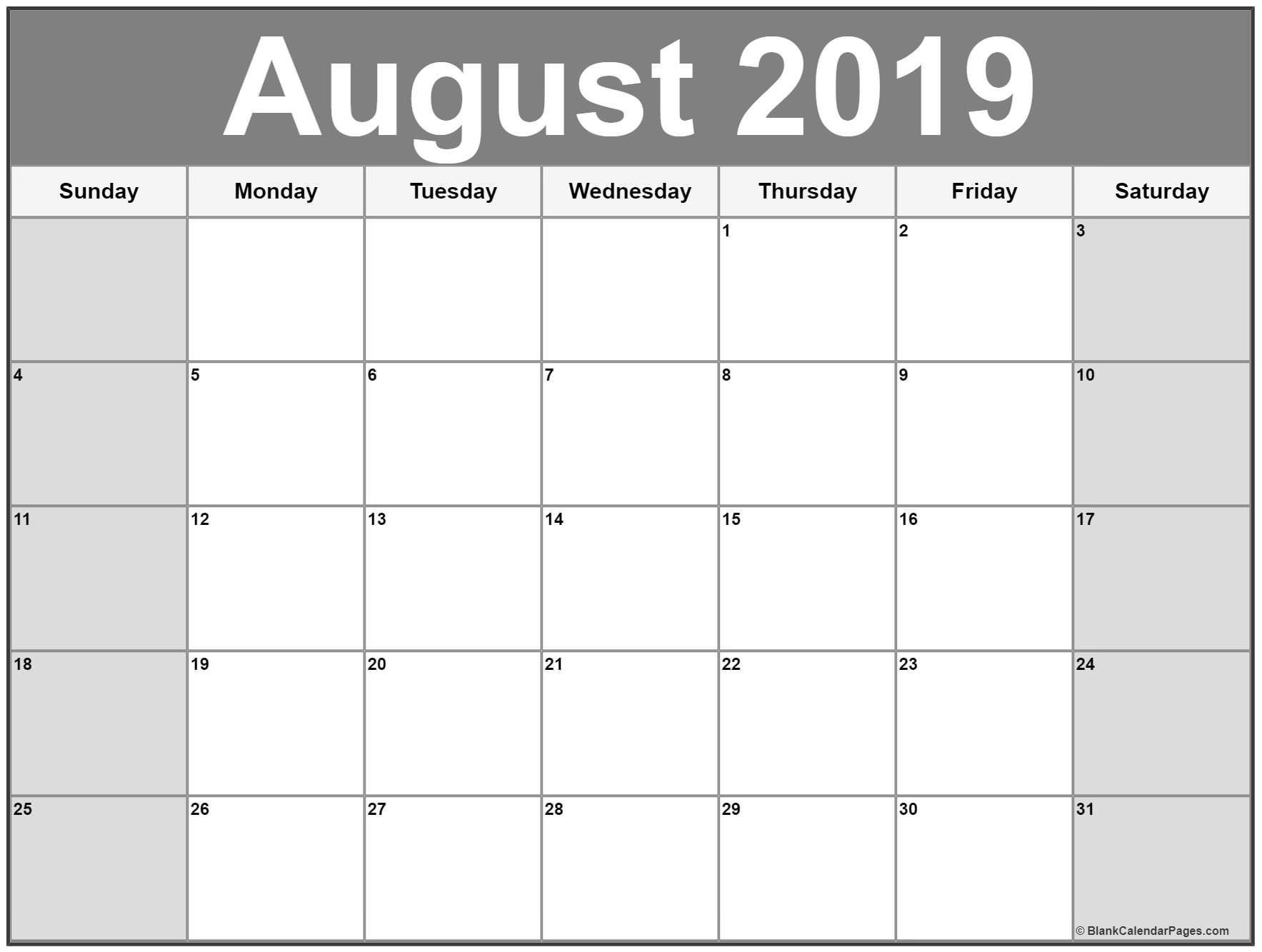 August 2019 Calendar Printable Free   Calendar Printables inside Printable Monthly Calendar Templates August