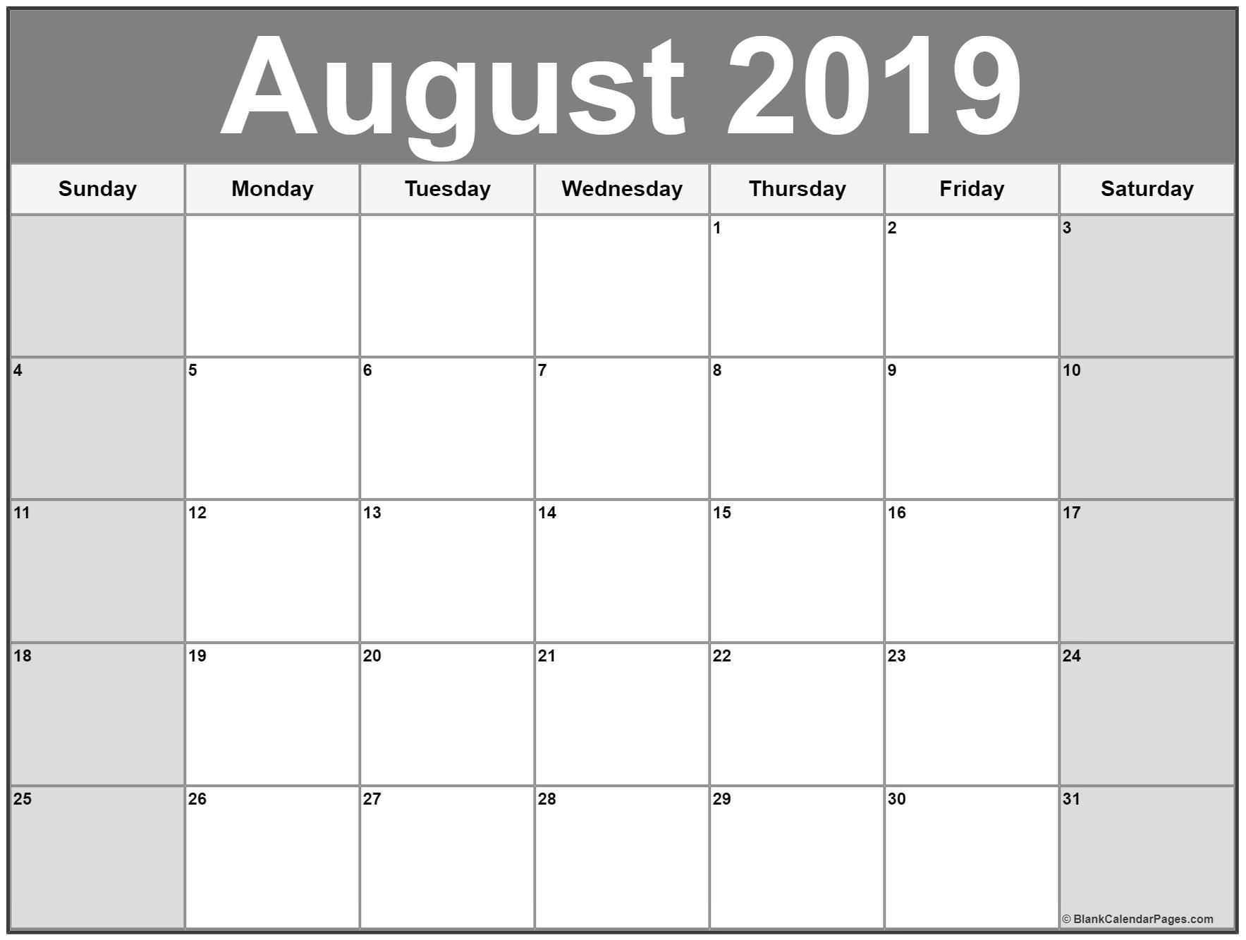 August 2019 Calendar Printable Free | Calendar Printables regarding Printable Blank Calendar July And August