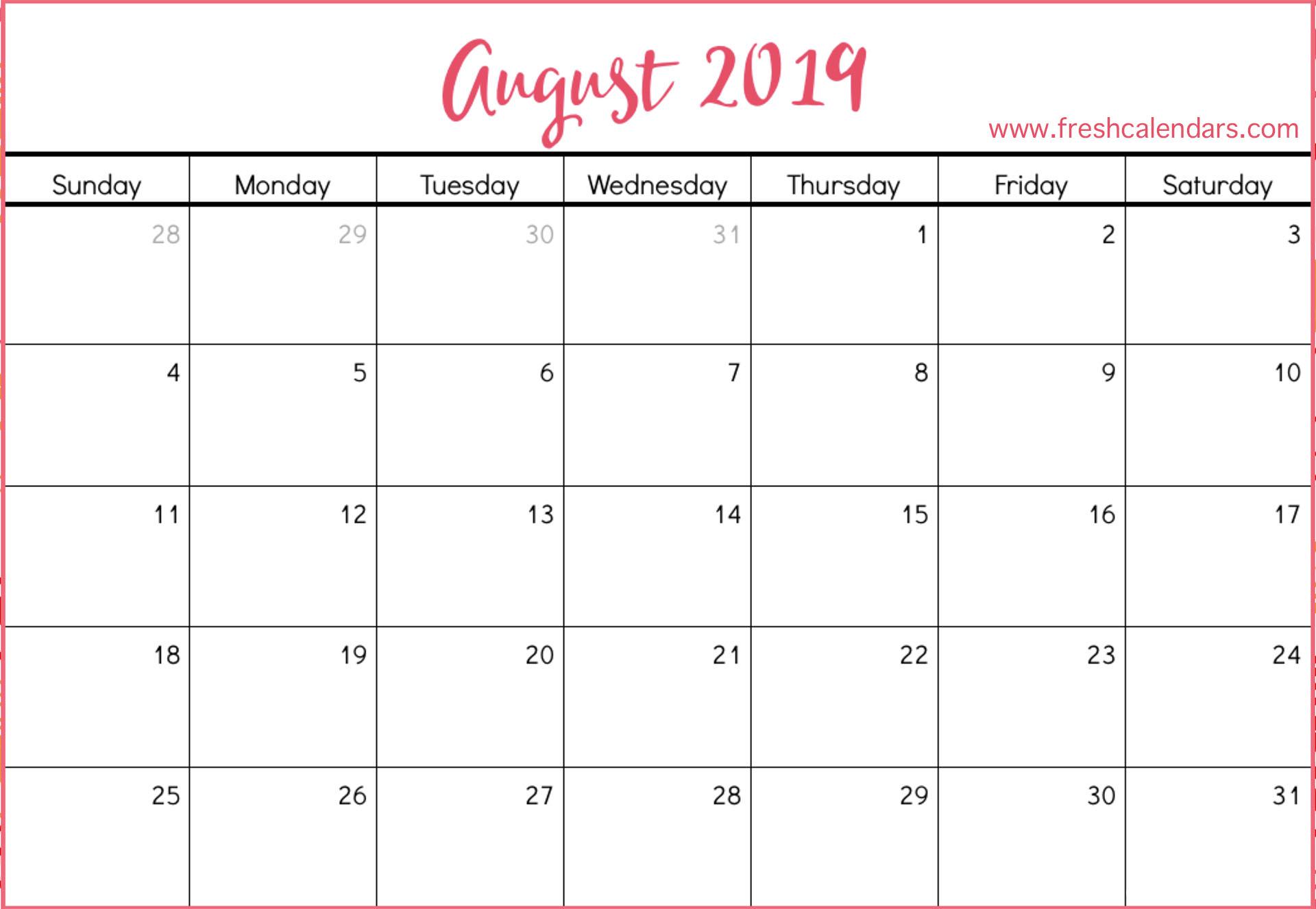 August 2019 Calendar Printable - Fresh Calendars in Fancy August Printable Calendar Template
