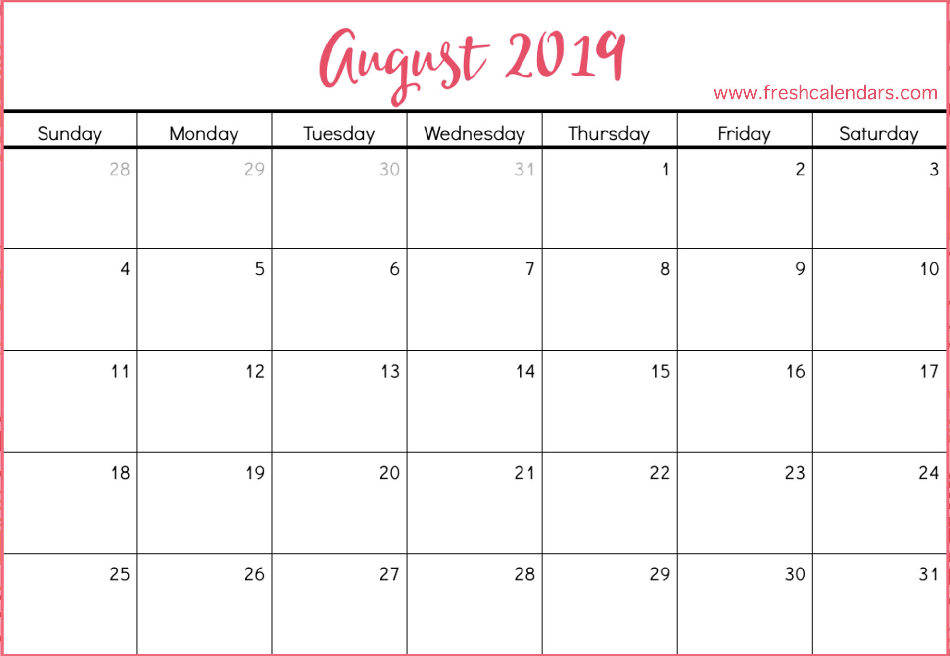August 2019 Calendar Printable - Fresh Calendars throughout August Calendar Template To Type In