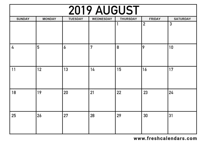 August 2019 Calendar Printable - Fresh Calendars throughout Printable Blank Calendar August