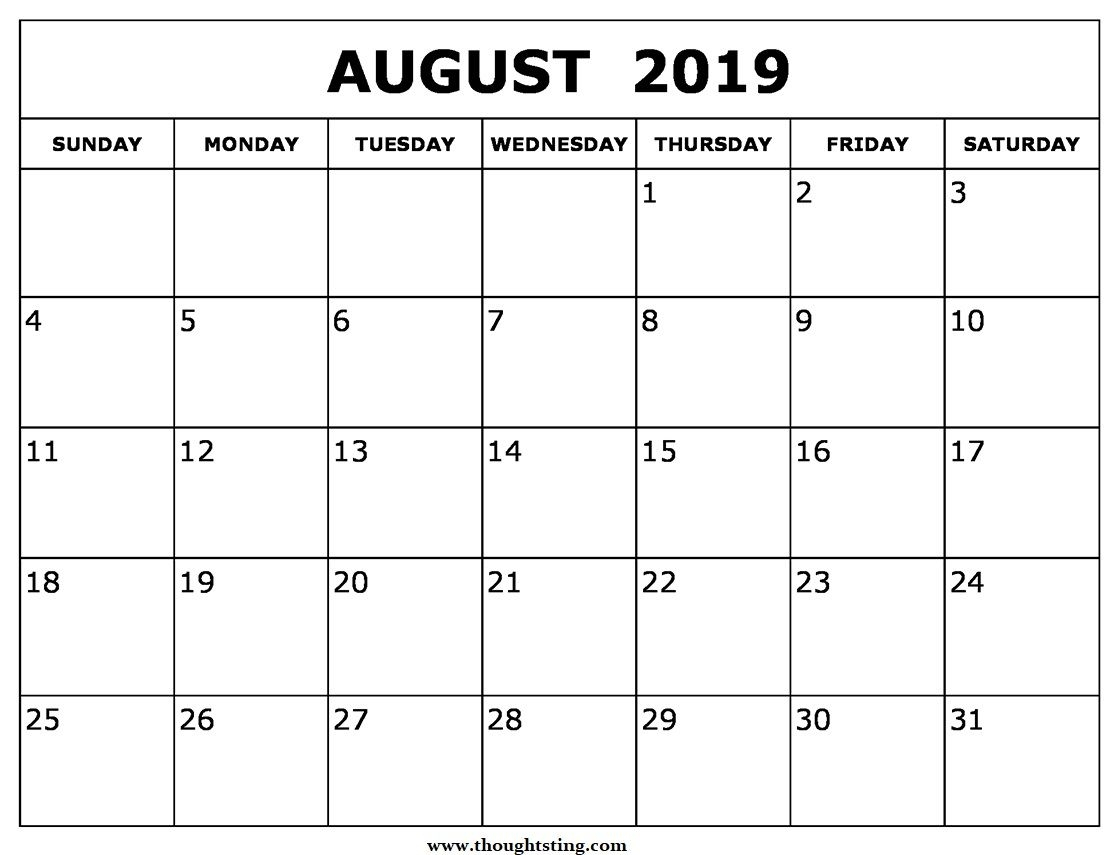 August 2019 Calendar Printable Pdf | Calendar Format Example throughout Printable Free August Calendar Template With Clown